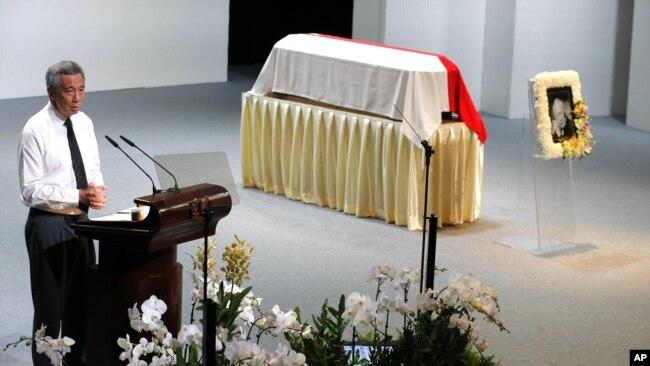 Ông Lý Hiển Long phát biểu tại tang lễ của cố Thủ tướng Lý Quang Diệu, tháng 3/2015.
