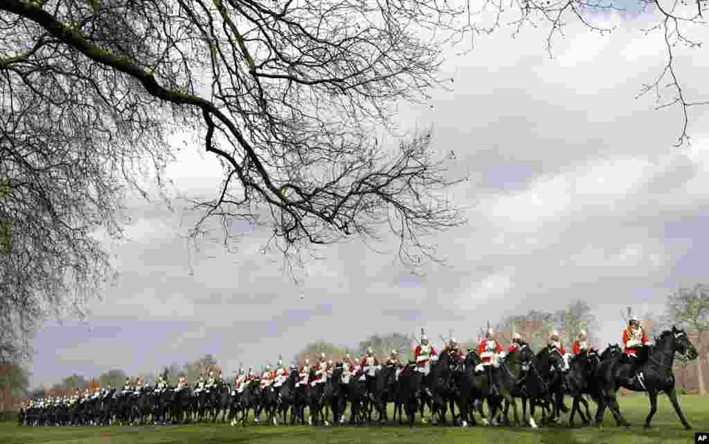 The Household Cavalry Mounted Regiment parades in Hyde Park in London. The regiment was undergoing their annual inspection to validate their ability to conduct state ceremonial duties for the year.