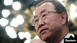 29일 오스트리아를 방문한 반기문 유엔 사무총장이 기자들의 질문에 답하고 있다.