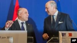 Премьер Ирака Аль-Абади и министр иностранных дел Франции Лоран Фабиус