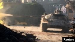 عکس آرشیوی: تانک ارتش آزاد سوریه در منطقه راموسه