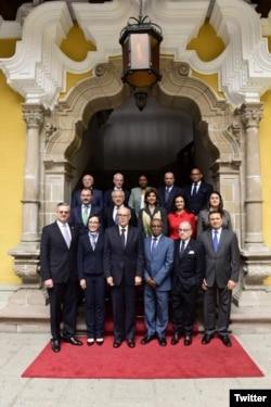 Los cancilleres de América que participaron en Lima en la reunión para tratar la crisis en Venezuela. Agosto 8, 2017. Foto: Cancillería de Perú.