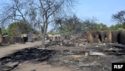 The village of Ngouboua was attacked by Boko Haram militants, leaving a burnt compound, February 13, 2015.