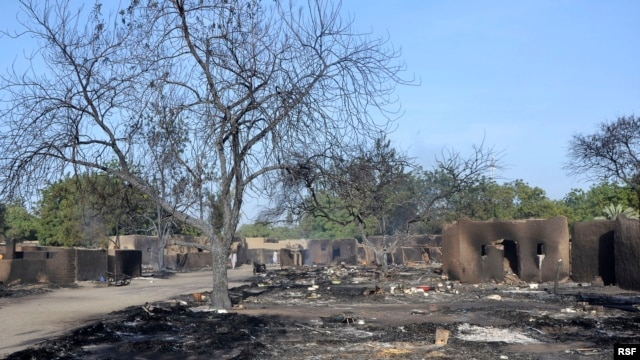 The village of Ngouboua was attacked by Boko Haram militants, leaving a burnt compound, Feb. 13, 2015.