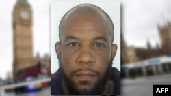 This composite photo includes a handout picture taken for an identity document and released by the British Metropolitan Police Service in London on March 24, 2017 shows Khalid Masood, the 52-year-old Briton behind the March 22 terror attack at Westminste