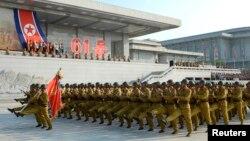 한국전 정전협정 체결 61주년을 맞이한 지난 7월, 북한 평양 금수산태양궁전 광장에서 결의대회가 열렸다. (자료사진)