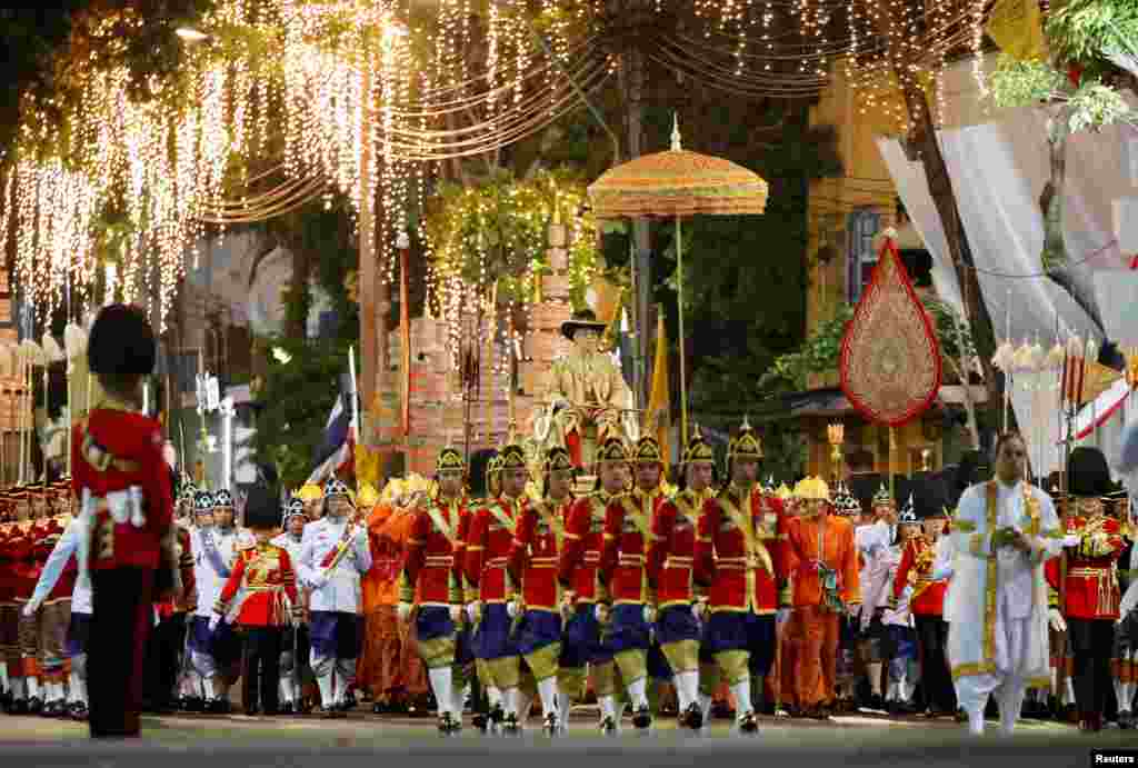 Thailand's newly crowned King Maha Vajiralongkorn is seen during his coronation procession, in Bangkok.