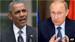 FILE - Presidents Obama and Putin.