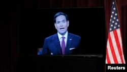 Republican U.S. presidential candidate and U.S. Senator Marco Rubio participates via video conference during the Voters First Presidential Forum in Manchester, New Hampshire August 3, 2015.