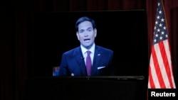 Senator AS dan kandidat capres AS dari partai Republik, Marco Rubio berpartisipasi melalui video conference dalam Forum Pemilihan Kandidat Capres Pertama di Manchester, New Hampshire (2/8).