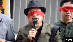 退休教師、保衛香港自由聯盟發言人韓連山。(美國之音湯惠芸)