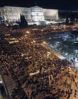 Greek protestors gather in front of the parliament in Syntagma square during a 48-hour strike by the two major Greek workers unions in central Athens, November 7, 2012.