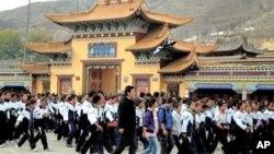 ریبکانگ میں تبتی طالب علموں کا چین مخالف مظاہرہ(فائل)