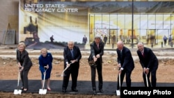 From left, Hillary Rodham Clinton, Madeleine Albright, Henry Kissinger, John Kerry, James A. Baker III, and Colin Powell participate in the groundbreaking ceremony for the U.S. Diplomacy Center, Sept. 3, 2014, at the State Department. (AP Photo/Carolyn Kaster)