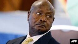 Le président ougandais Yoweri Museven lors d'une discussion à Washintgon DC, le 7 août 2014.