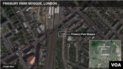 Ramani ya Msikiti ulioko eneo la Finsbury Park, London