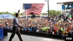 El presidente Obama habló al comienzo de la semana en Milwaukee y volvió a hacerlo en Cleveland impulsando su agenda económica.