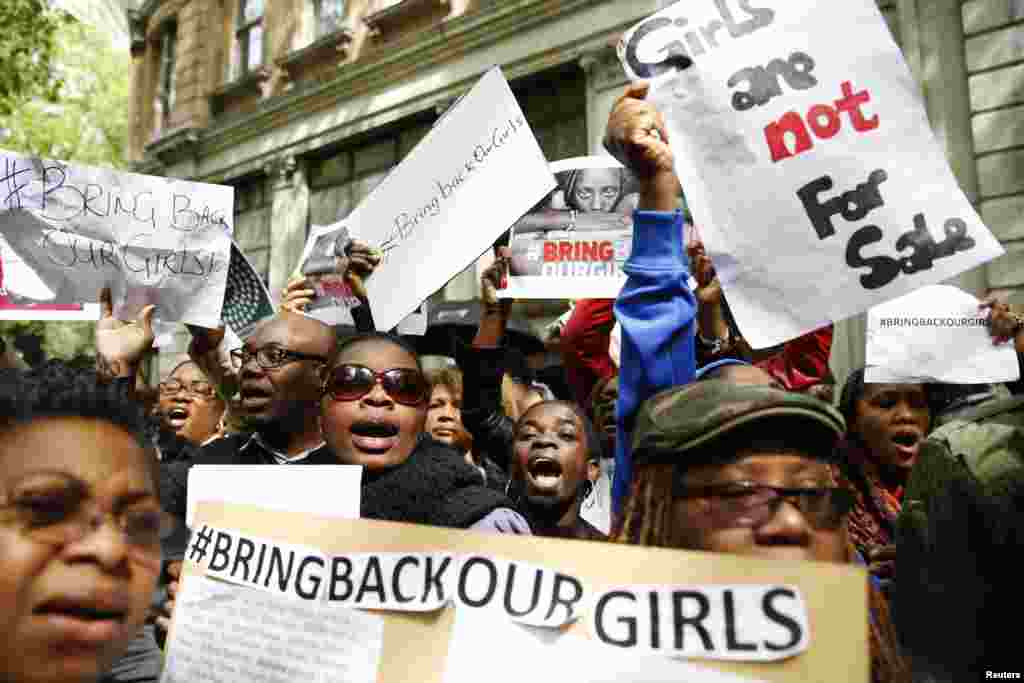 Protestors demonstrate against the kidnapping of the schoolgirls in Nigeria, outside the Nigerian Embassy, London May 9, 2014.