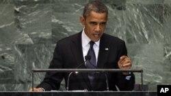 Presiden AS Barack Obama memberikan pidato di depan Sidang Umum PBB hari Selasa (25/9).