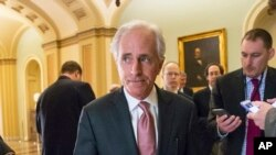 Senate Foreign Relations Committee Chairman Bob Corker on Capitol in Washington, March 8, 2016.