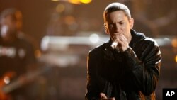 FILE - Eminem performs at the BET Awards June 27, 2010 in Los Angeles