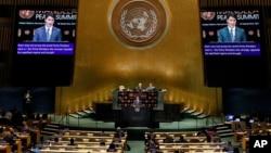 Perdana Menteri Kanada Justin Trudeau berpidato di KTT Perdamaian Nelson Mandela, di Majelis Umum PBB, di New York, 24 September 2018.