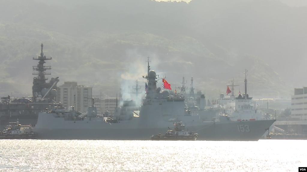中国多艘军舰2016年7月12日访问美国珍珠港 (美国之音黎堡拍摄)