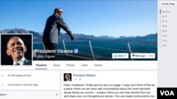 Laman Facebook Presiden Amerika Barack Obama yang diluncurkan hari Senin (9/11).
