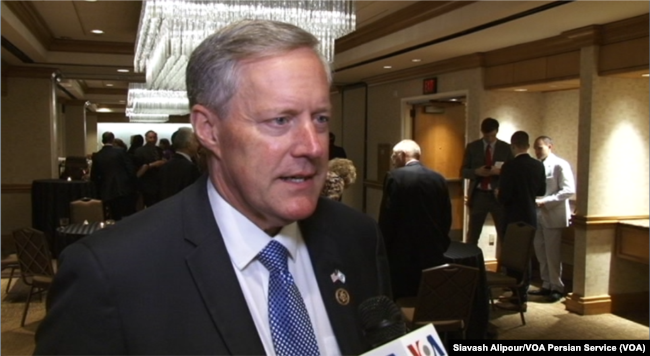 Republican Congressman Mark Meadows speaks to VOA Persian at Washington's Grand Hyatt hotel, June 14, 2017.