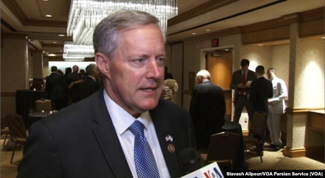 Republican Congressman Mark Meadows speaks to VOA Persian at Washington's Grand Hyatt hotel, June 14, 2017.