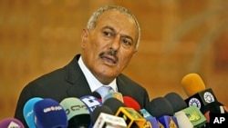 President Ali Abdullah Saleh speaks during a media conference in Sanaa, Yemen (File Photo - February 21, 2011)