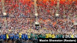 Suasana saat penutupan IAAF World Athletics Championships di Luzhniki, Moskow (18/8/2013). Untuk World Indoor Champioinship 2016, IAAF telah menetapkan Portland, Oregon, sebagai tuan rumah.