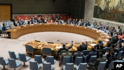 The United Nations Security Council votes on a new sanctions resolution that would increase economic pressure on North Korea to return to negotiations on its missile program, at U.N. headquarters in New York, Aug. 5, 2017.