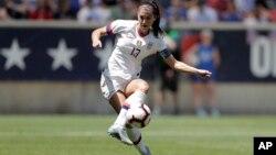 Alex Morgan, attaquante de l'équipe américaine lors d'un match amical contre le Mexique le 26 mai 2019 à Harrison, New Jersey.