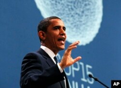 President Barack Obama speaks at the morning plenary session of the United Nations Climate Change Conference in Copenhagen, Denmark, Dec. 18, 2009.