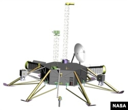 This graphic shows a possible robotic lander for a future mission to Jupiter's moon Europa.