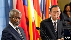 Special envoy Kofi Annan (left) with UN Secretary General Ban Ki-Moon Jun 7, 2012