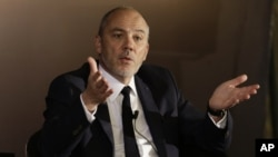 Stephane Richard, CEO of the French mobile phone company Orange, said Monday he would visit Israel. He's shown at a press conference in Cairo, June 3, 2015.