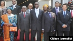 President Ian Khama of Botswana with President Robert Mugabe and other regional leaders in Malawi at the weekend.