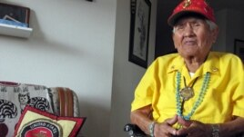 FILE - Chester Nez talking about his time as a Navajo Code Talker in World War II at his home in Albuquerque, New Mexico.