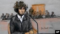 지난해 12월 보스턴 연방법원에서 열린 심리에 출석한 보스턴 마라톤 테러 용의자 조하르 차르나예프. (자료사진)
