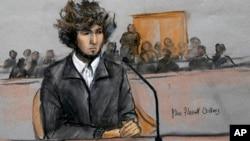 2014年12月18日联邦法院法庭素描: 波士顿马拉松爆炸案犯罪嫌疑人焦哈尔.萨纳耶夫