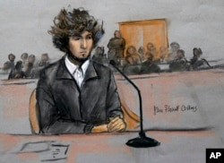 A courtroom sketch depicts Dzhokhar Tsarnaev in federal court in Boston, Massachusetts, December 18, 2014.