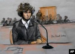 A courtroom sketch depicts Dzhokhar Tsarnaev in federal court in Boston, Massachusetts, December 18, 2014.