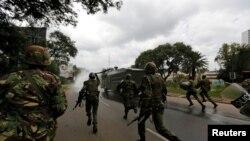 Polisi wa kutuliza ghasia wakati wa maandamano ya wafuasi wa CORD, Jumatatu, Nairobi