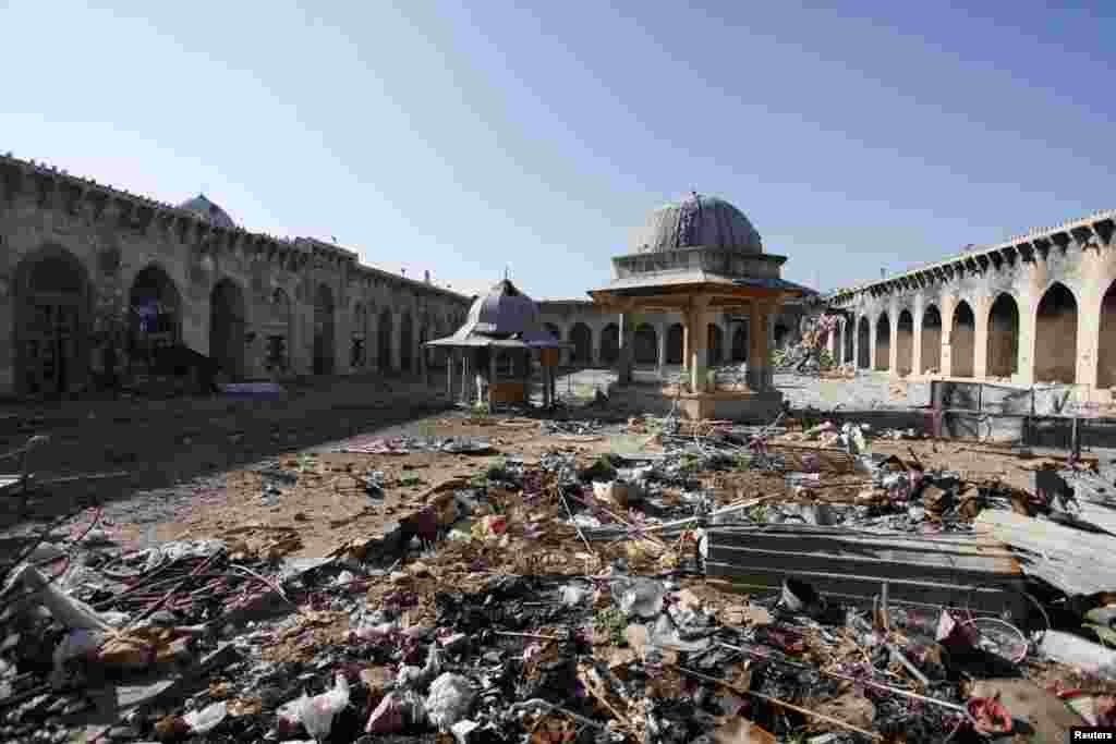 A general view of damage in the Umayyad mosque of Old Aleppo, Dec. 15, 2013.