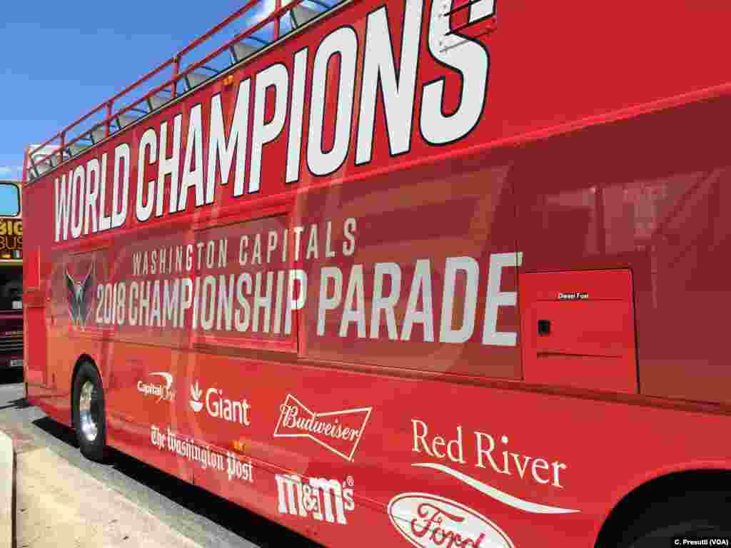 The championship celebration parade proceeds up Constitution Ave. in Washington.