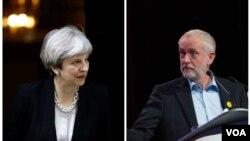جرمی کوربین رهبر حزب کارگر (راست) و ترزا می رهبر حزب محافظه کار و نخست وزیر بریتانیا
