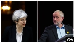 Theresa May et Jeremy Corbyn.