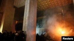 Des manifestants anti-gouvernementaux à Kiev en Ukraine